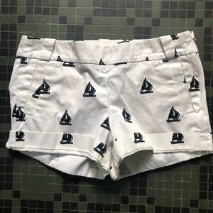 J. Crew White and Black Sailboat Shorts Size 8